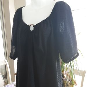 Black Uline Blouse with Polka Dots